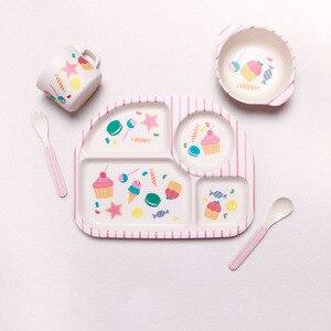 Image 5 - 5 Cái/bộ Sợi Tre Trẻ Em Bộ Đồ Ăn Cho Bé Tấm Món Ăn Bát Cốc Giỏ Muỗng Nĩa Hoạt Hình Hình Trẻ Em Ăn Tối
