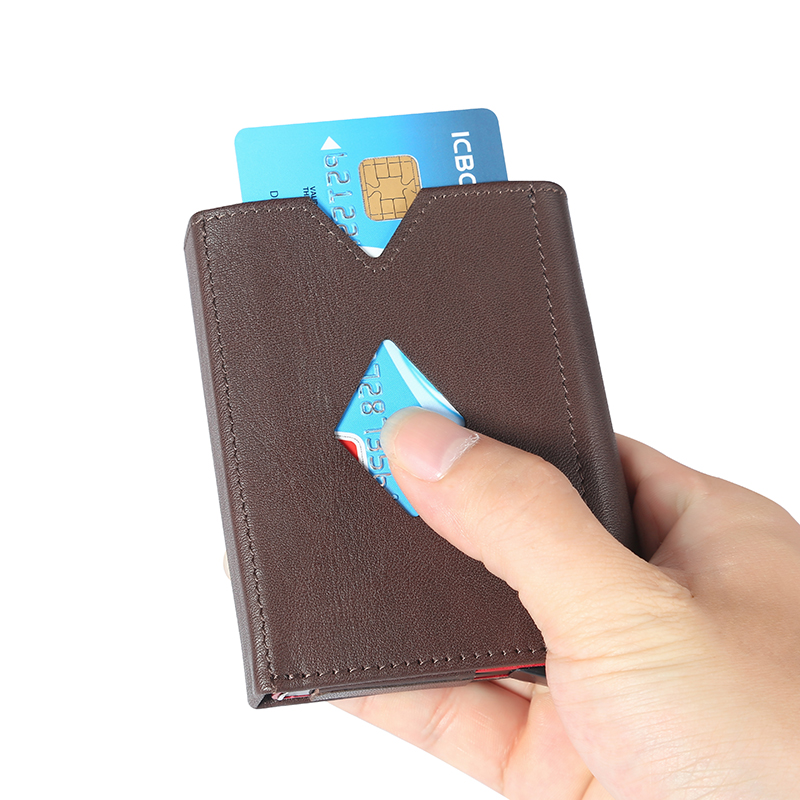 все цены на New design Business ID Travel Wallet Automatic Pop Up ID Credit Card Holder Unisex Card Case Stainless Steel leather wallet