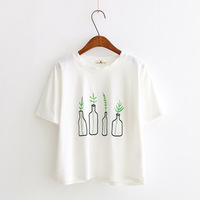 Women T Shirts 2018 Summer Korean Style Women T Shirt Harajuku Bottle Plants Pattern Kawaii Embroidery
