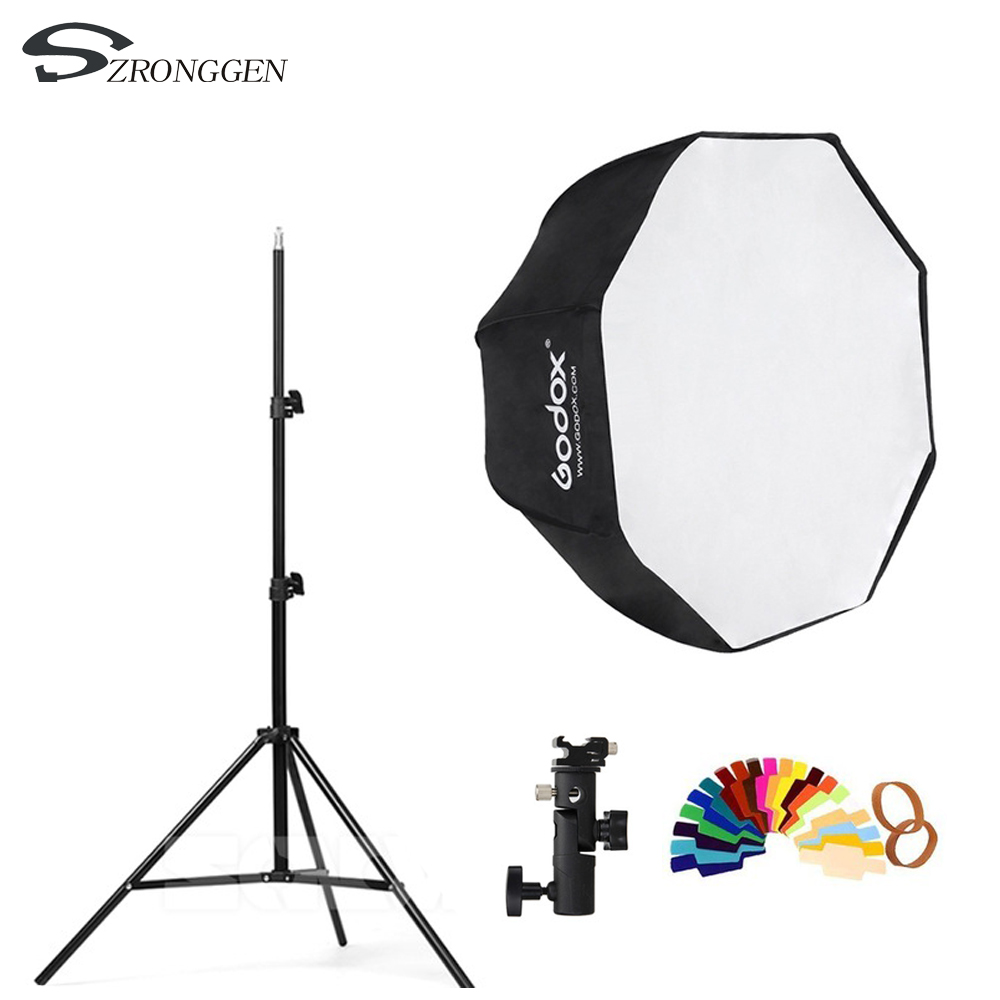 Godox 80cm octagon umbrella softbox 2m Light stand umbrella Hot shoe bracket kit for Flash Speedlite