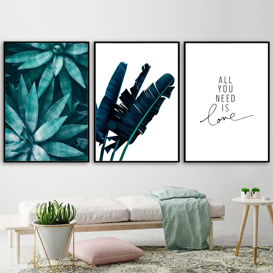 Tropical Green Plant Banana Leaf Quote Wall Art Canvas