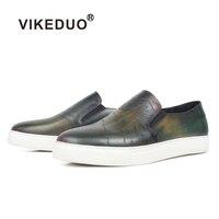 VIKEDUO/Новинка; мужская обувь на плоской подошве; Повседневная обувь из лакированной кожи; роскошные кроссовки с гравировкой; Мужская Спортив