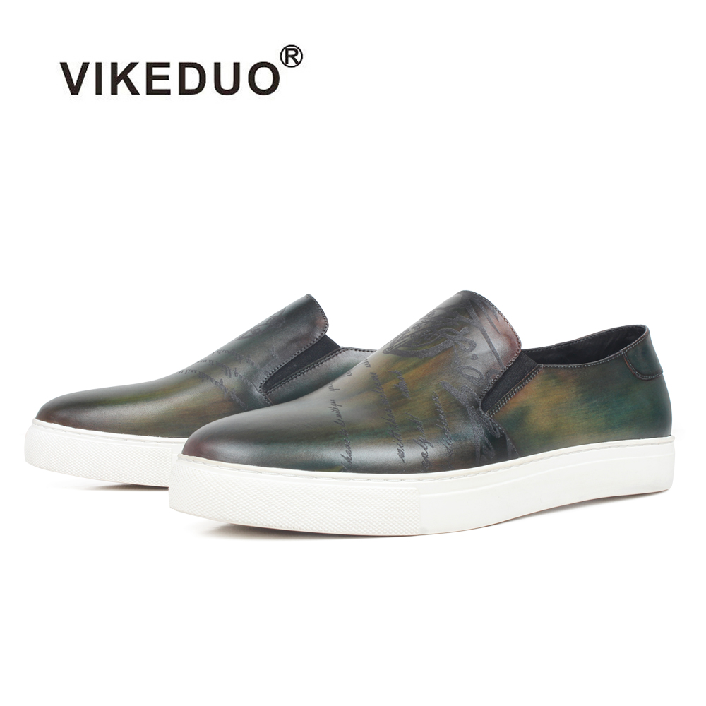 VIKEDUO New Flats Shoes For Men Casual Patina Leather Sneakers Luxury Engraving Mans Sports Footwear Bespoke Zapato Hombre