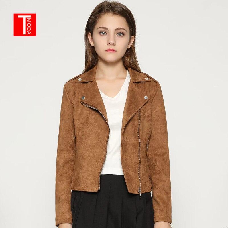 2018 Women Autumn Winter Suede Faux Leather Jackets Lady Fashion Matte Motorcycle   Coat   Biker Brown Zipper Outerwear