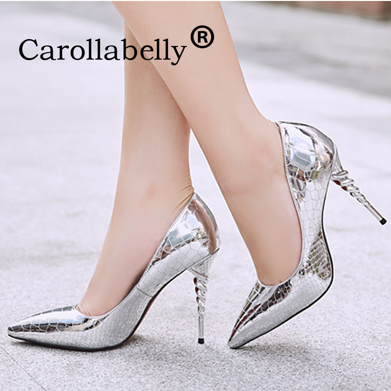 2018 Silver High Heels 10CM Shoes Women Pointed Toe Shoes High Heels  Wedding Black Gold Shoes Metal Decoration Sexy Shoes 6dc20251d888