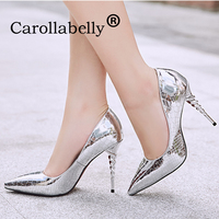 2019 Silver High Heels 10CM Shoes Women Pointed Toe Shoes High Heels Wedding Black Gold Shoes Metal Decoration Sexy Shoes