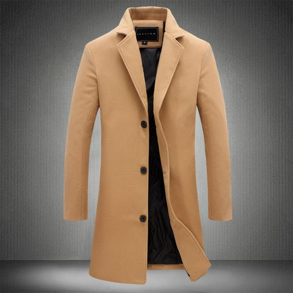 19 Fashion Men's Wool Coat Winter Warm Solid Color Long Trench Jacket Male Single Breasted Business Casual Overcoat Parka 11