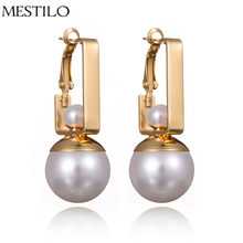 MESTILO Trendy Big Double Simulated Pearl Earrings Simple Gold Sliver Color Long Drop Earrings For Women Summer Earrings Jewelry(China)