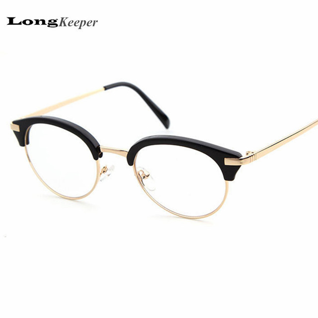 b6b81f6c24 LongKeeper Semi Rimless Glasses Frame Cat Eye Eyewear Sexy Round Clear Lens  Glasses for Women Half