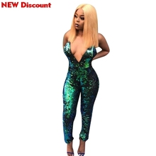 b38a587d5d1 Green Sequined Jumpsuit Women Sexy Punk Club V-neck Sequined Jumpsuit  Bodycon Party Rompers(