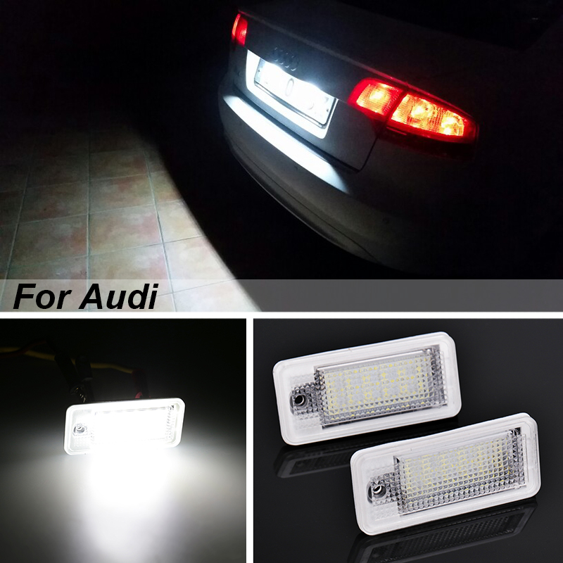 Urbanroad 2PCS For Audi license plate lights 12V NO Canbus Error license plate lights For Audi A3 S3 A4 S4 B6 B7 A6 S6 A8 Q7 vodool 1 pair led car license plate lights 6500k vehicle lamps car styling for audi a3 a4 b6 b7 a6 a8 q7 a5