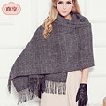 Lady British Fashion Houndstooth Wool Scarf Female Autumn and Winter All-match Fringed Shawl Thickened Scarves B-4618