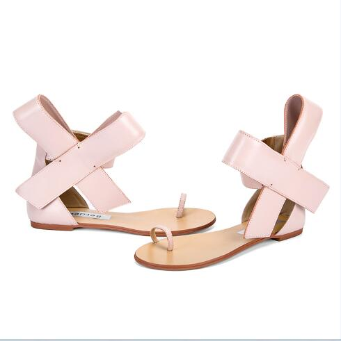 7e7c78fed390 2017 Summer fashion pink thong sandals butterfly-knot decoration ankle wrap  lace-up women sweet shoes toe ring flat sandals
