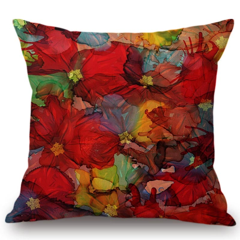 Colorful Watercolor Flowers Painting Cushion Cover Pillow Case Car Seat Office Chair Luxury Home Decoration Throw Pillows Cover