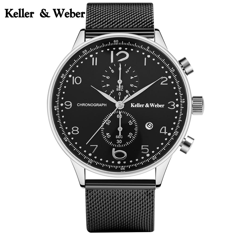 Keller & Weber Luxury Men Quartz Wristwatch Stainless Steel Watchband Chronograph Date Waterproof Watches for Sport Male Gift