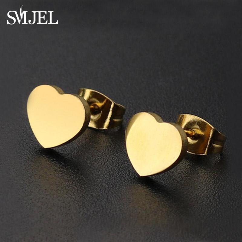 SMJEL Vintage Black Stainless Steel Heart Stud Earrings For Women Girls Minimalist Jewelry Accessories Heart Earrings Punk Bijou