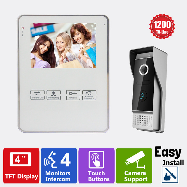 Homefong4Wire 4 Inch Video Door Phone Door Unlock Door Bell Intercom System with Photo/Video Record Function 1200TVL Monitoring