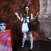 Adult Womens Terrify Fever Creepy Zombie Circus Clown Halloween Costume
