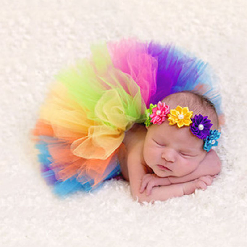 Colorful Rainbow Colors Cute New Born Costume Outfit Newborn Baby Photography Props Sweet Photo Props Skirt Flower Headband ...