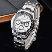39 мм PARNIS белый циферблат сапфировое стекло, кварцевый хронограф мужские часы