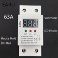 1pc 63A 230V Self Recovery Automatic Reconnect Over & Under Voltage Protector Lightening Protection Relay LCD Voltmeter Monitor
