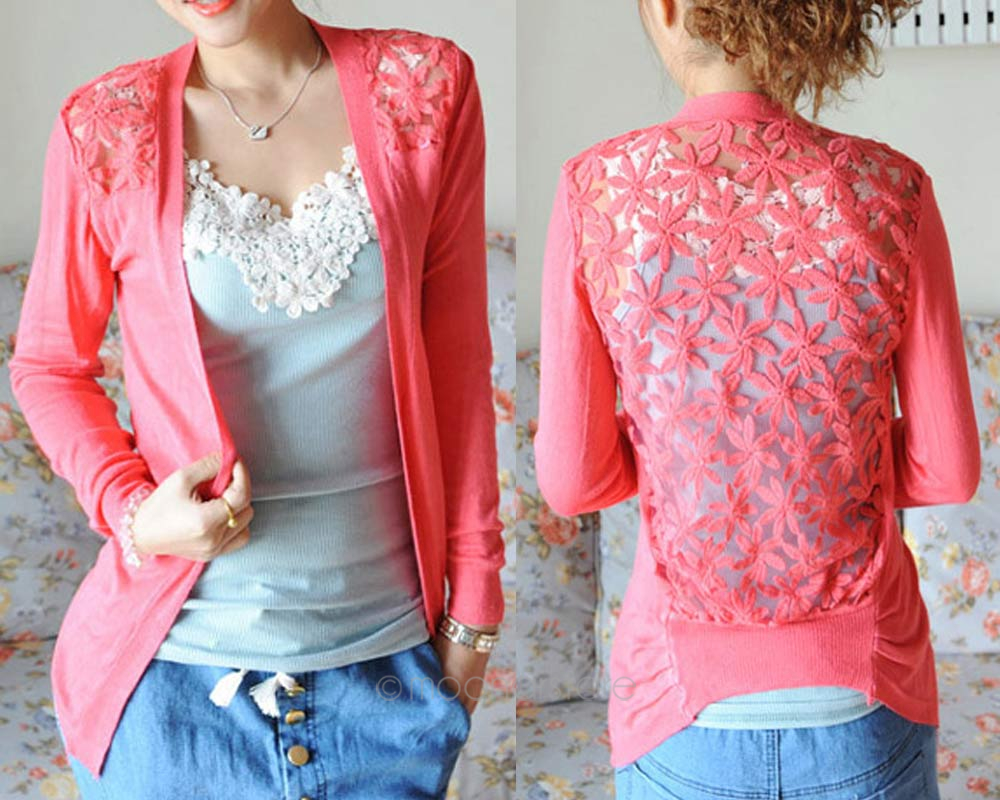 2017 Spring Women Open Stitch Knitted Sweaters Cardigans Lace ...
