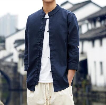 S-5XL ! Men Spring autumn Seven-point sleeve button linen stand collar shirt vintage casual Chinese style Male clothing costumes 2