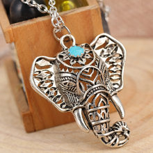 Gypsy Vintage Silver Elephant Pendant Necklace Chain Jewelry Gift 4ND112(China)