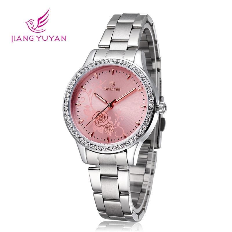 Aliexpress.com Comprar Skone de marca relojes mujer vestido acero inoxidable pulsera de reloj de lujo Casual Relogio reloj de cuarzo de reloj de muñeca