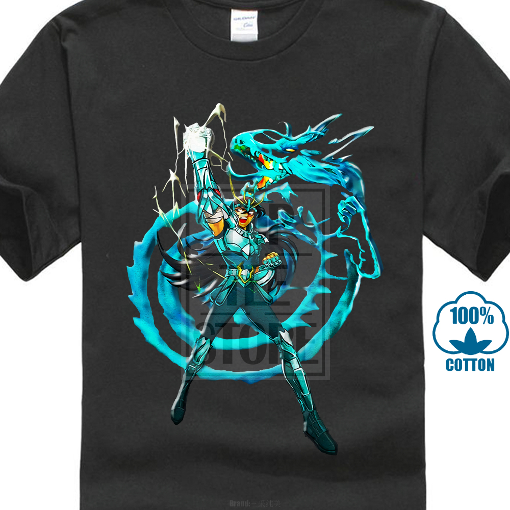 The Knights Of The Zodiac Shiryu Dragon Saint Seiya Short Sleeved T Shirt Adult Unique Tees Shirt Pure Cotton Men For Group