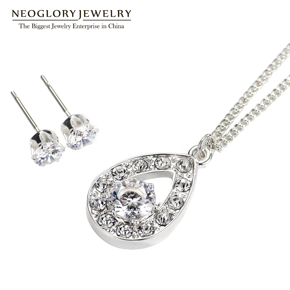 Neoglory Earrings Jewelry-Sets Necklaces Christmas-Gifts Wedding-Bridal Silver-Plated