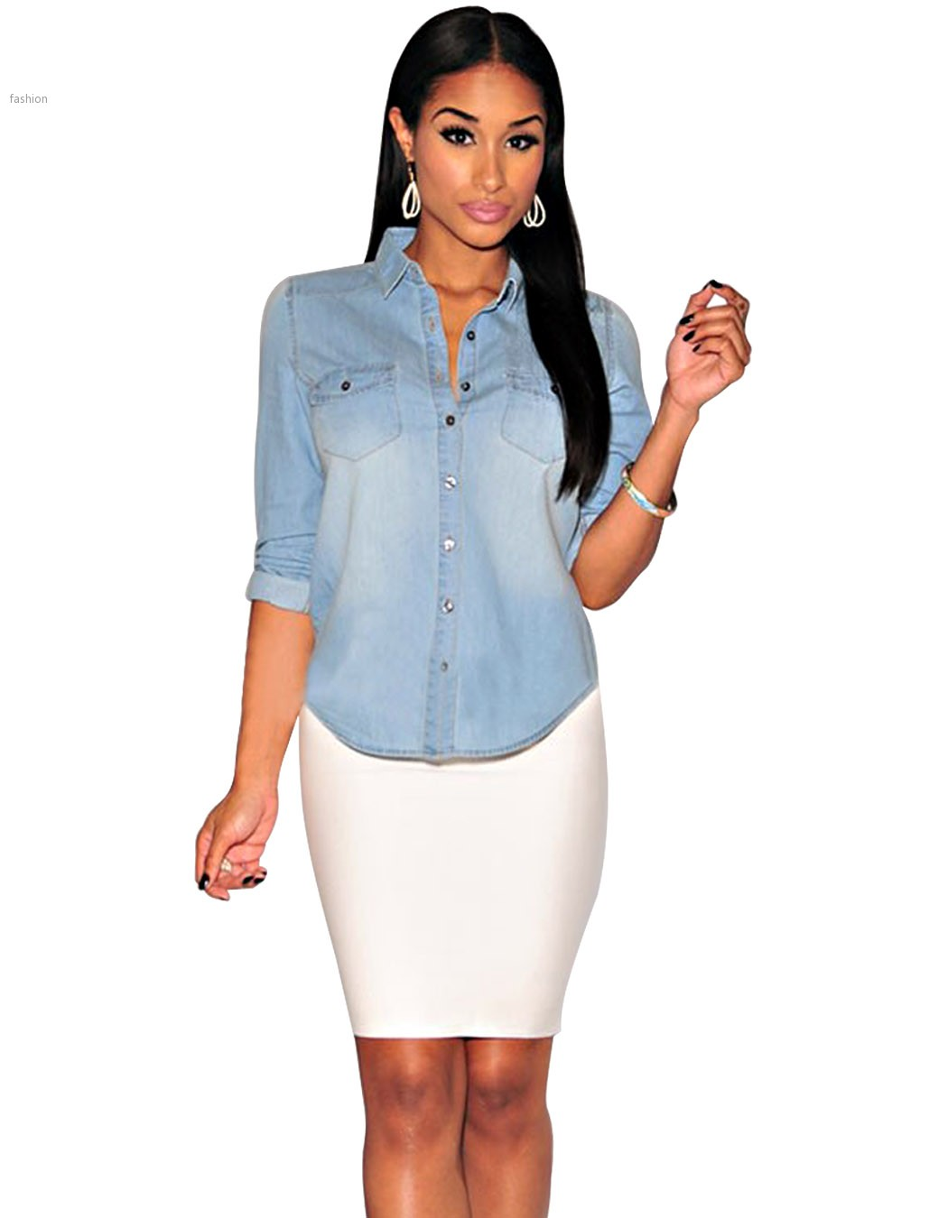 47910088ef7 2015 summer style blusas fashion clothing sexy club denim blouses long  sleeve women jeans shirt casual slim tops plus size 41