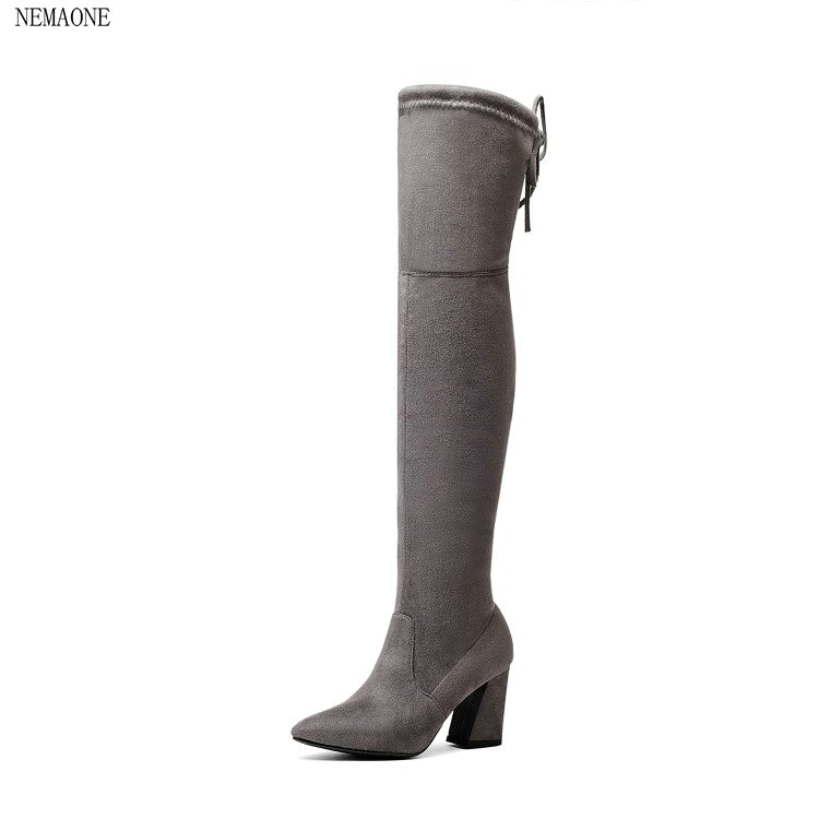 NEMAONE Women Stretch Faux Suede Thigh High Boots Sexy Fashion Over the Knee Boots High Heels Woman Shoes size 34-43