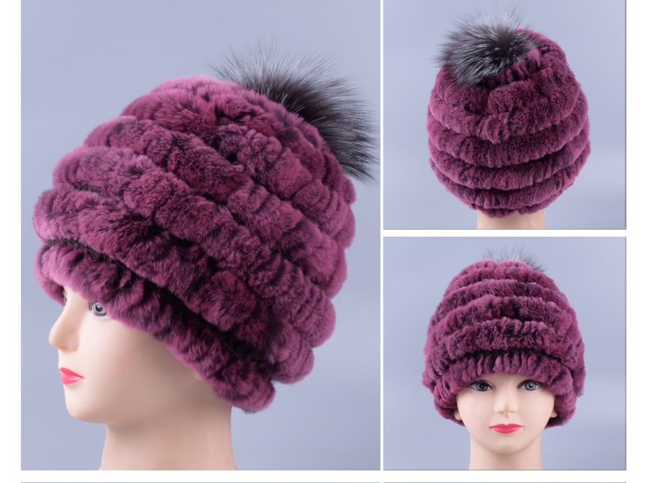 cd549e5f830 Rabbit Fur Hat Female Winter Rex Rabbit Fur Woven Inlaid Round Hat ...