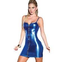 Women Sexy Zipper Camisole lingerie Baby Dolls Clubwear Stripper Patent Leather Underwear sexy costume erotic lingerie Dress