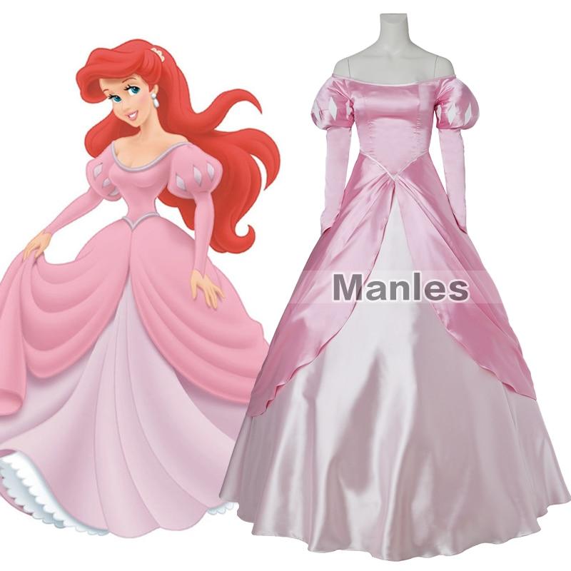 Princess Ariel Pink Dress The Little Mermaid Fancy Cosplay Costume Sexy Party Dress Adult Women Girls Halloween Custom Made