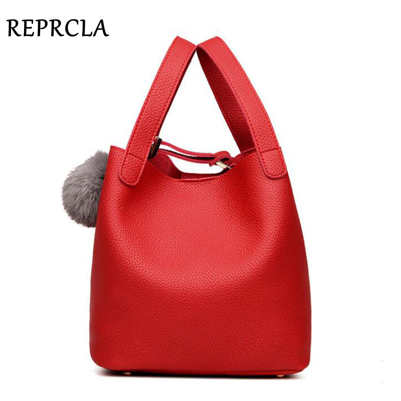 REPRCLA Designer Hairball Tassel Women Bags High Quality PU Leather Handbags Fashion Ladies Bucket Bag Tote Top-handle Bags reprcla brand designer handbags women composite bag large capacity shoulder bags casual ladies tote high quality pu leather