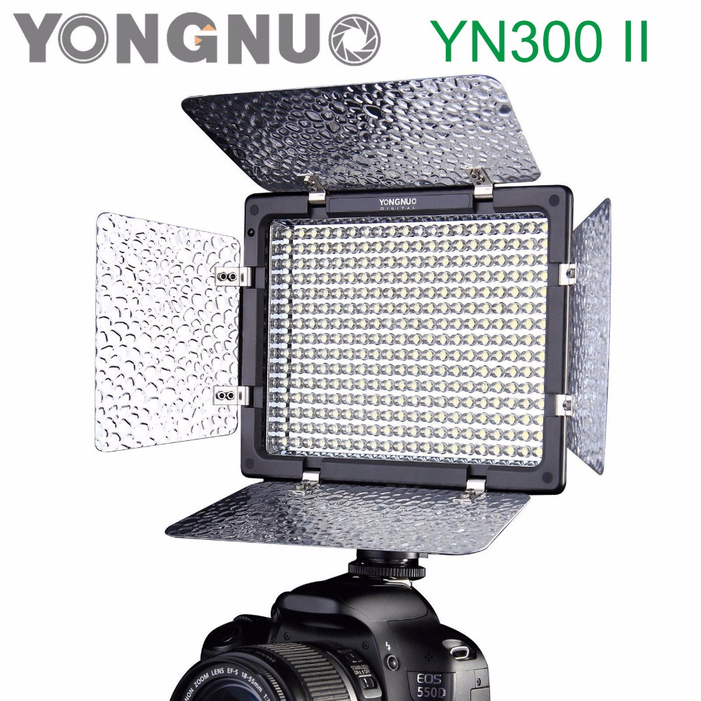 Yongnuo YN300 II YN-300 ll 3200K-5500K Pro LED Video Light Lighting with Remote Control for Canon Nikon Camera Camcorder godox led 308y 308 leds professional led video 3300k light with remote control for canon nikon camera dv camcorder