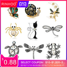 8ecb798c217 Vintage Simulated Pearl Crystal Cat Frog Bee Moon dragonfly butterfly Pin  Brooch Antique Pin Women Brooch Pin Costume jewelry