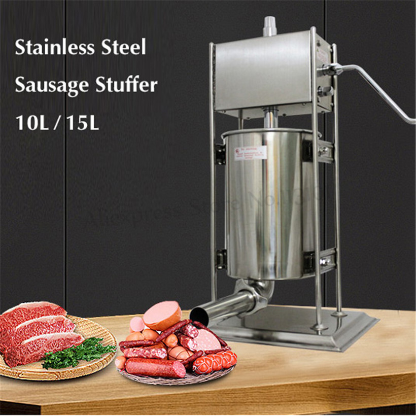 15Liters Heavy Duty Sausage Stuffer Vertical Stainless Steel Sausage Maker Spanish Churros Maker Churro Molding Machine