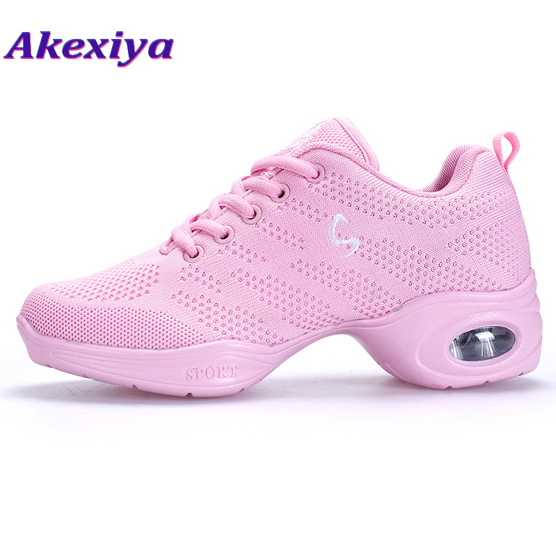Akexiya Girls Fitness Dance Shoe Air Cushion Dancing Sneakers Pink Breathable Mesh Fly Weave Jazz Dance Shoes Women Sport Shoes
