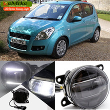 eeMrke For Suzuki Splash 2007-up 2 in 1 Double Led Guiding DRL Fog Lights Lamp With Q5 Lens Daytime Running Lights