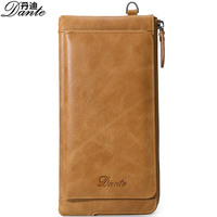 Fashion Colorful Genuine Cow Leather Man Woman Wallets Luxury Brand Business Cowhide Leather Phone Pocket Long