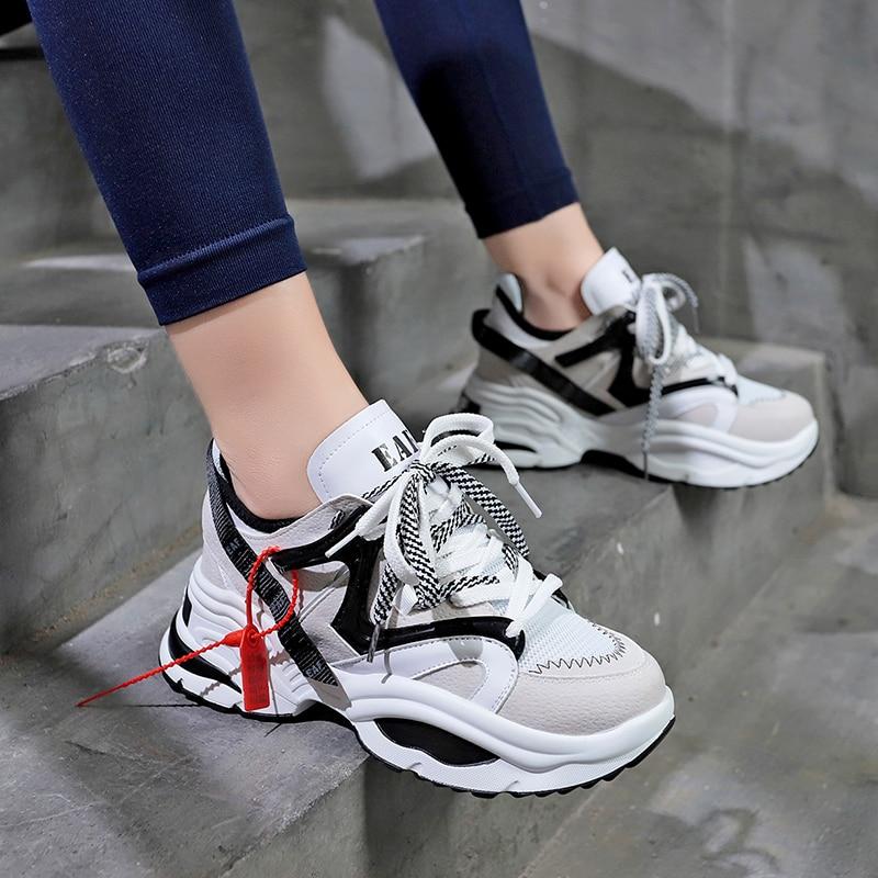 Detalles de mujeres zapatos 6 cm zapatillas deporte plataforma transpirable moda calzado