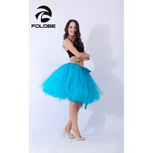 ae64b1b95e FOLOBE Ocean Blue Handmade Midi Tulle Skirt Tutu Skirts Women Ball Gown  Party Petticoat faldas saia jupe TT010