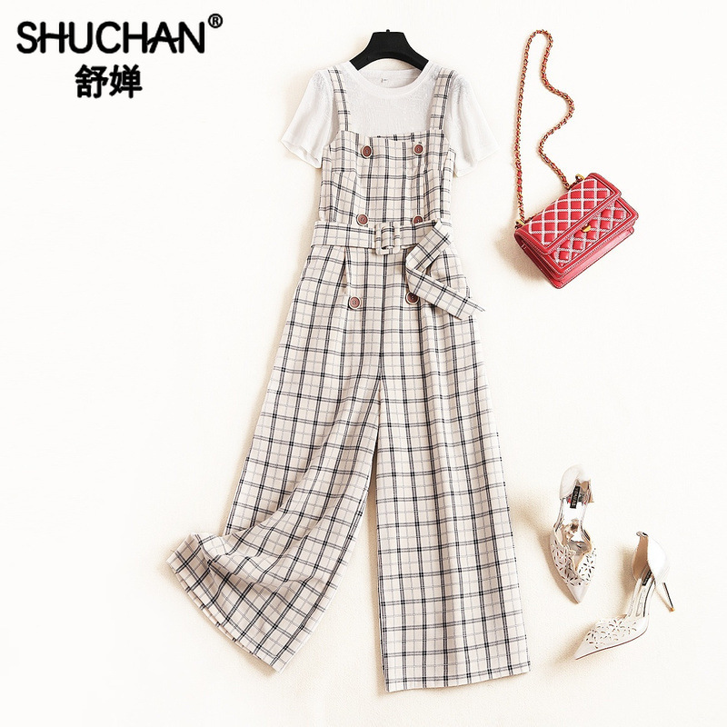 Shuchan Women 2 Piece Set Office Lady T-Shirt +Plaid Overalls Fashionable Sets Leisure Suits Women Clothing Set For Summer 51379