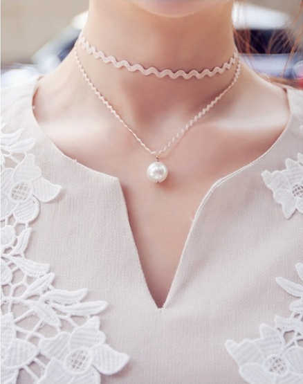 2019 moda más caliente negro ondulado cinta Torques babero Bijoux imitación-colgantes de perlas doble capa collares joyería de mujer