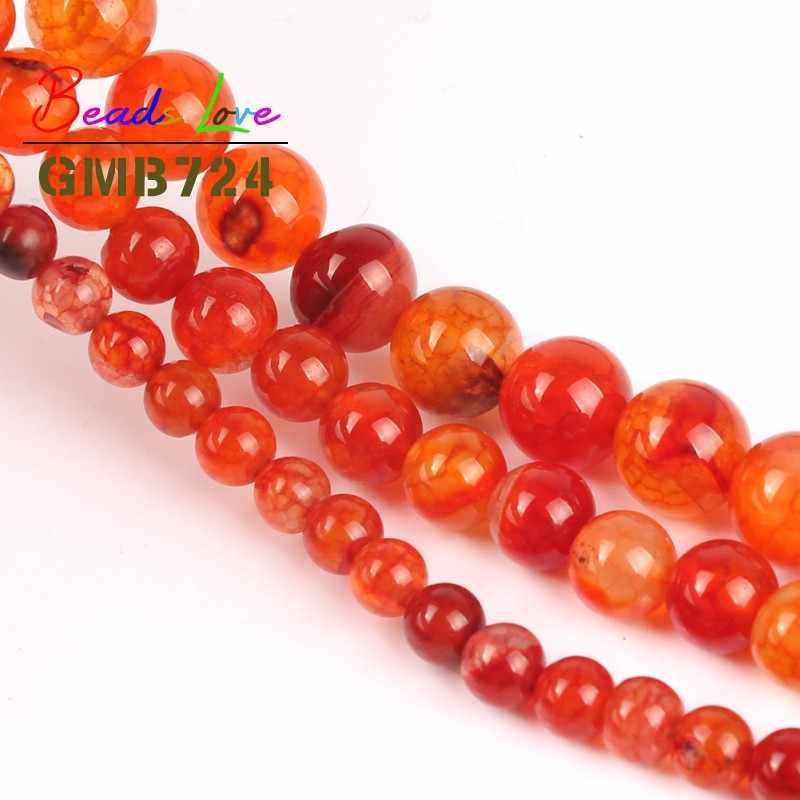 Bán buôn Natural Orange Dragon Veins Agat Vòng Hạt cho Làm Đồ Trang Sức Onyx Bóng Diy Necklace Bracelet Trang Sức 6/8/10 mét 15