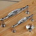 Fashion deluxe k9 clear crystal wine cabinet watch tv table handles knobs silver chrone drawer cabinet knobs pulls modern 128mm
