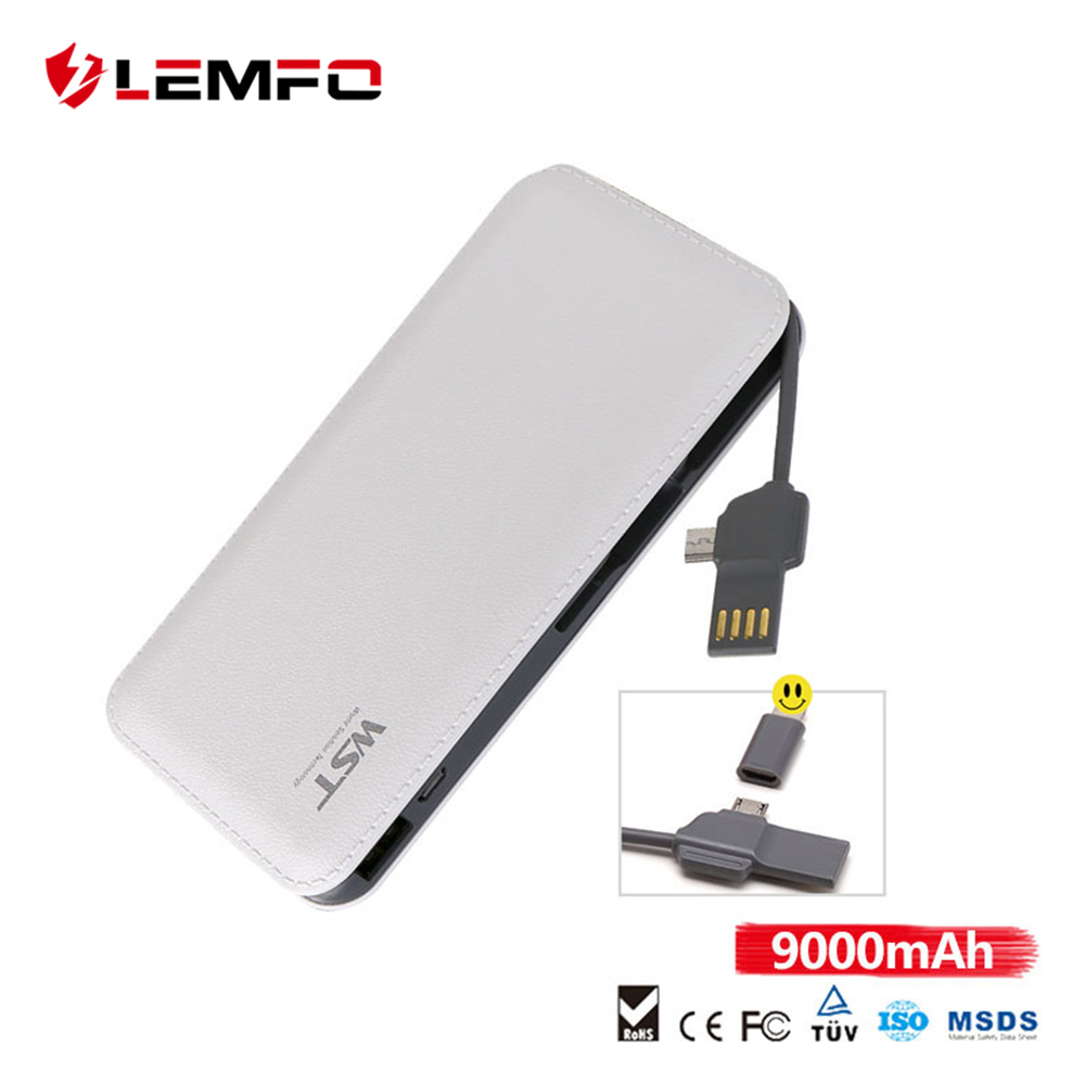 LEMFO Power Bank 9000mah Portable Ultra-thin USB 2-in-1 Fast Charging Powerbank for iPhone X Xiaomi External Battery Charger